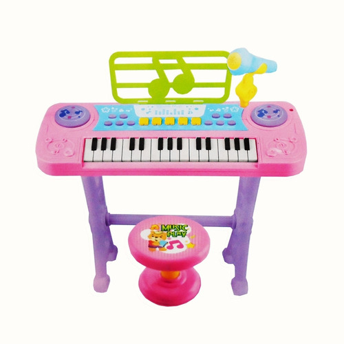 teclado piano infantil instrumento musical gravador rosa