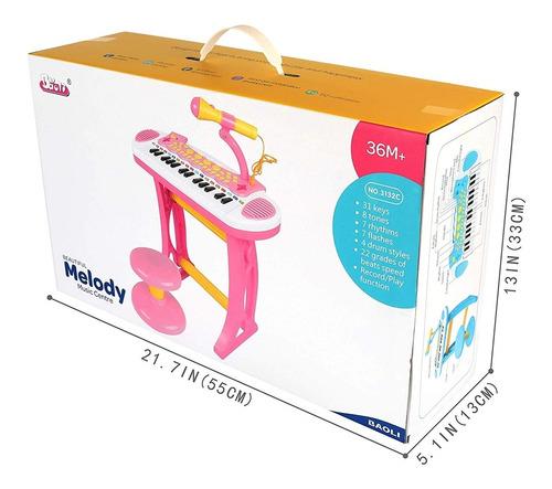 teclado piano infantil microfone completo banqueta rosa luxo