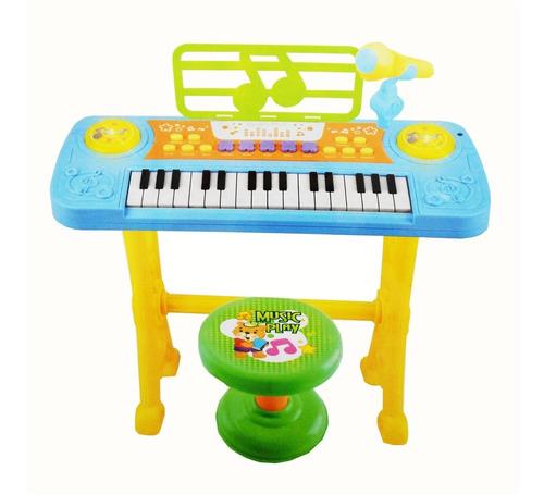 teclado piano infantil microfone gravador e banquinho azul