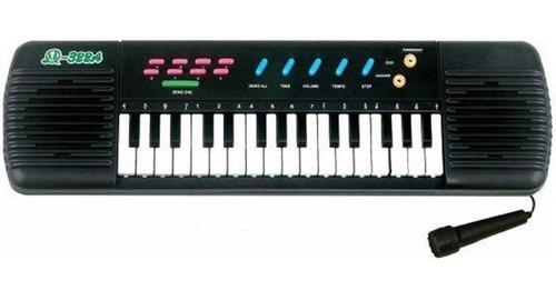 teclado piano musical center infantil + microfone karaoke