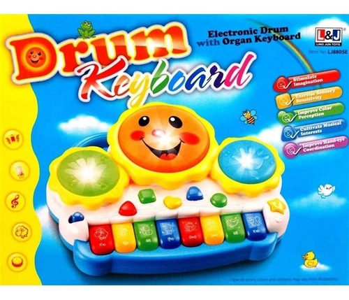 teclado piano musical infantil tambor eletronico para bebes