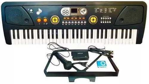 teclado piano organo 5 octavas usb mp3 aux pawer bank