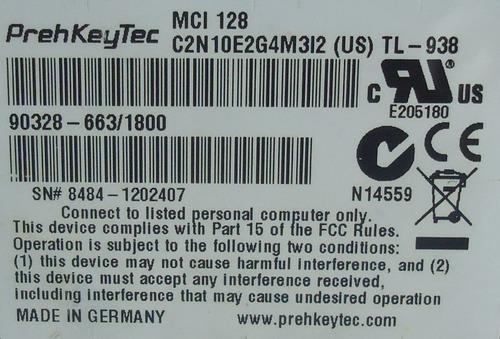 teclado prehkeytec mci 128 punto de venta n/p:90328-663/1800
