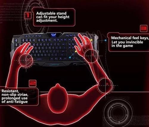teclado retroiluminado gamer tricolor m200 de membrana