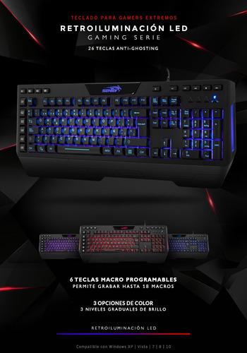 teclado retroiluminado sentey stronx gs-5755 3 colores htg