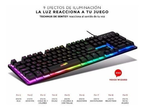 teclado retroiluminado sentey technus gs-5750 gaming rgb ht2