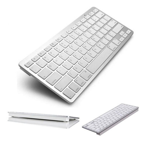 teclado sem fio bluetooth pc mac tablet ios android prata