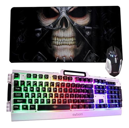 teclado semi mecânico + mouse  gamer  + mouse pad grande
