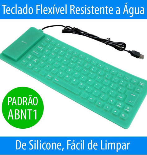 teclado silicone flexível usb resistente aguá p/ pc notebook