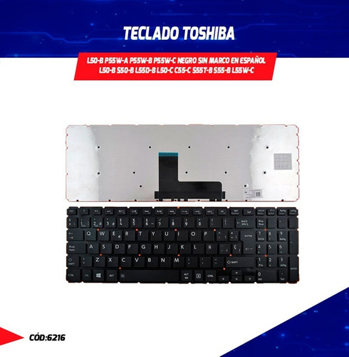 teclado toshiba l50-b p55w-a p55w-b p55w-c negro sin marco