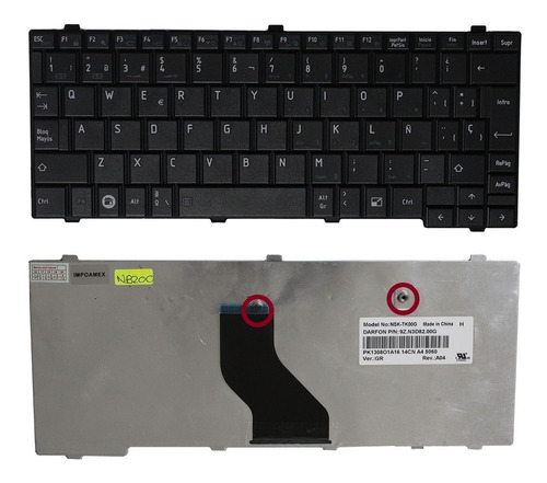 teclado toshiba nb250 nb255 nb500 negro