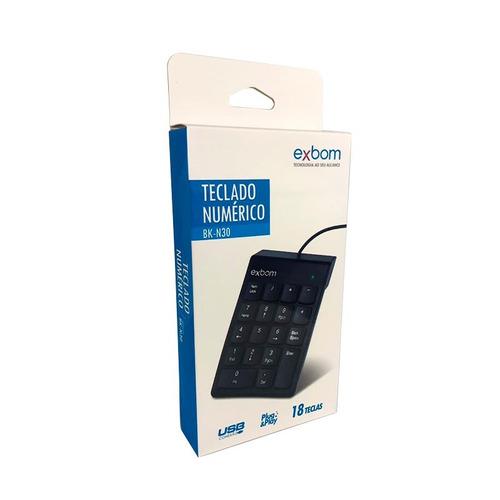 teclado usb numérico 18 teclas slim macio silencioso bk-n30