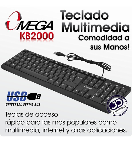 teclado usb omega kb-2000 multimedia 12 teclas combinadas fn
