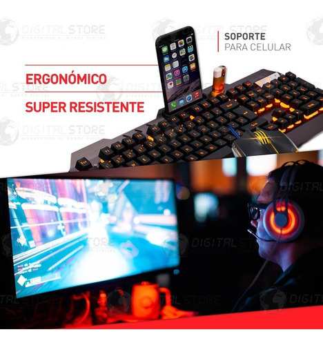 teclado y mouse gamer usb retro iluminado led 2000dpi combo kit