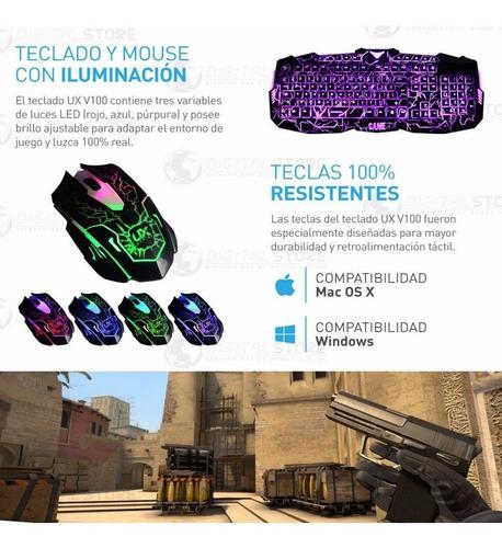 teclado y mouse gamer usb retro iluminado led combo kit