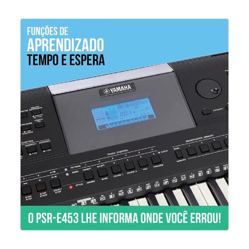 teclado yamaha psr e453 + fonte + suporte + fc4 a + frete
