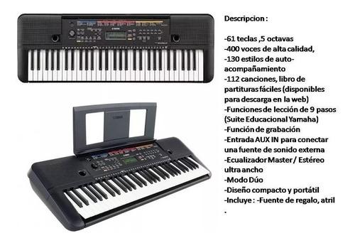 teclado yamaha psre263es +fuente+soporte+funda acolchada