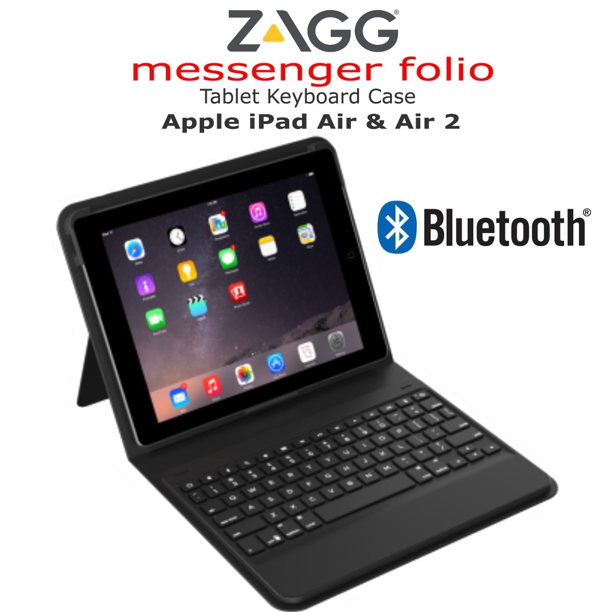 Teclado Zagg Bluetooth Messenger Folio Apple Ipad Air Y Air2 ...