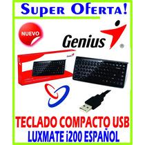 Teclado Genius Luxemate I200 Negro, Usb Multimedia Compacto