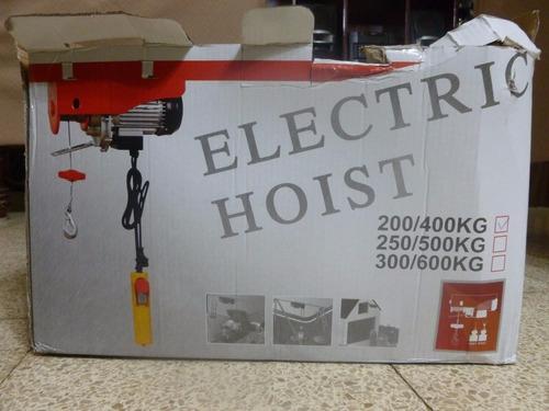 tecle eléctrico tipo cable 200/400kg 6/12 metros 110v.
