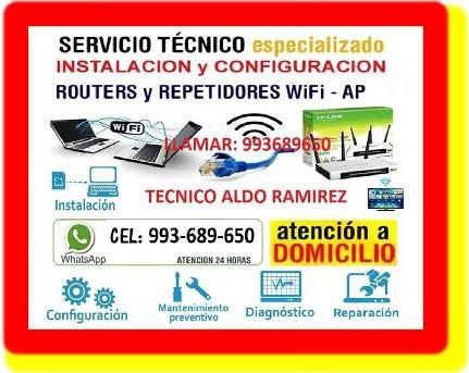 tecnico de cableados de red repetidores wifi pcs laptops
