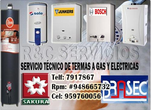 tecnico de termas a gas sole / reparacion 7917867 en lima