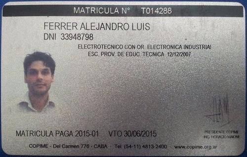 técnico electricista matriculado - presupuestos sin cargo