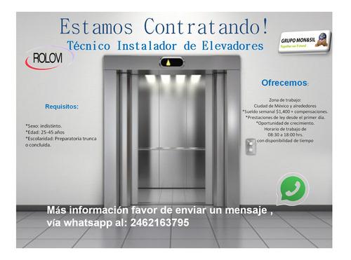 técnico instalador de elevadores
