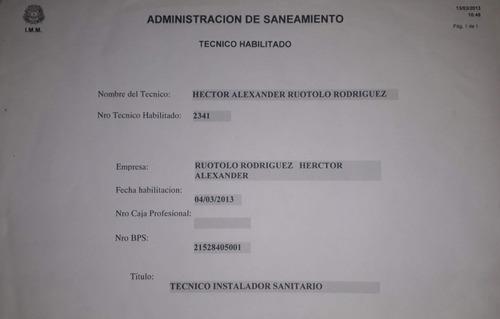 técnico instalador sanitario habilitado por imm n° 2341