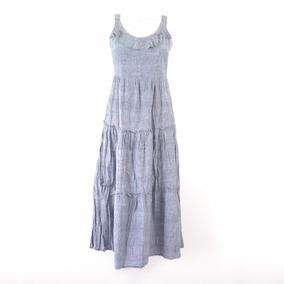 a3ed868c8 Ted Kenton Maxi Vestido Con Olanes Azul 9 Msrp $1,200