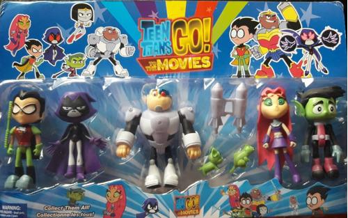 teen titans go jovenes titanes set x 5 + accesorios!