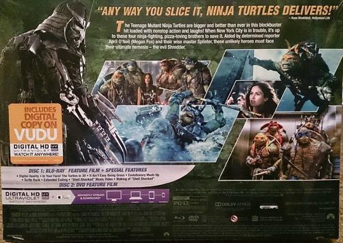 teenage mutant ninja turtles pelicula blu-ray + figuras