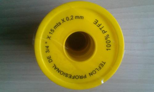 teflon 3/4 profesional el amarillo 15mts  para plomeria