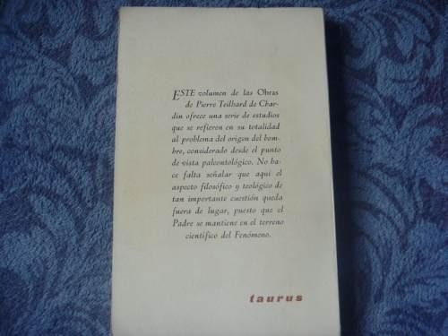 teilhard de chardin, la aparición del hombre, taurus, españa
