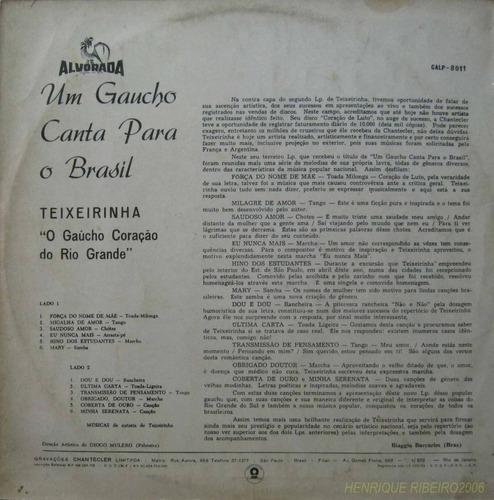 teixeirinha lp um gaucho canta para o brasil