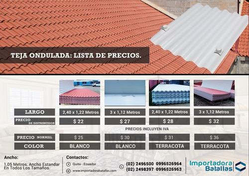 teja corrugada en pvc $ 25 desde 2 metros.  techos, cubierta