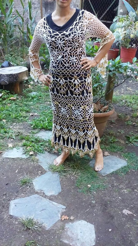 tejido artesanal crochet vestido  playero  calado