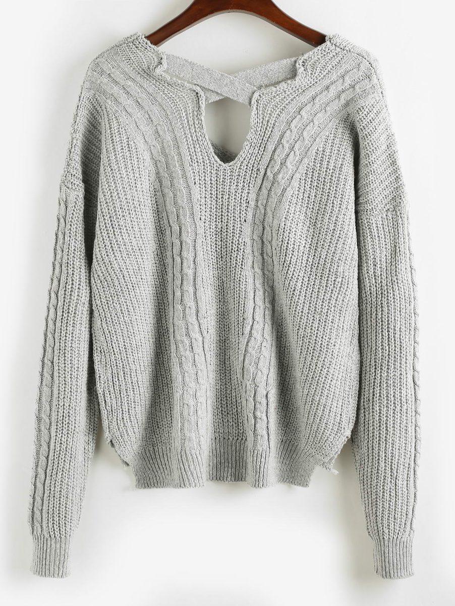 Tejido De Cable Liso Suéter Alto Bajo - $ 417.25 en Mercado Libre