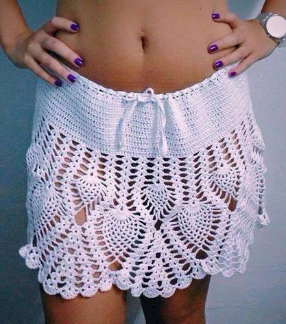tejidos artesanales a crochet: minifalda calada!