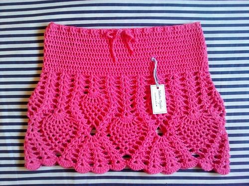 tejidos artesanales a crochet: minifalda calada