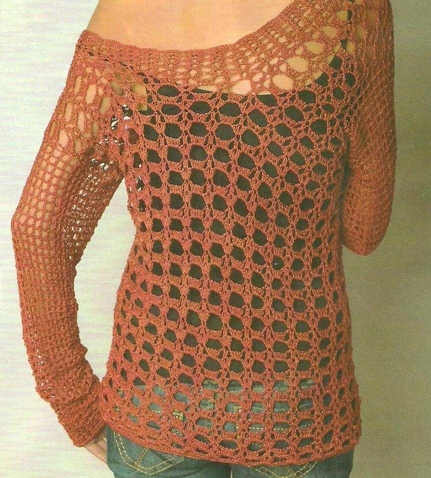 Tejidos Artesanales A Crochet: Sweater Calado Cuello Bote!! - $ 800 ...