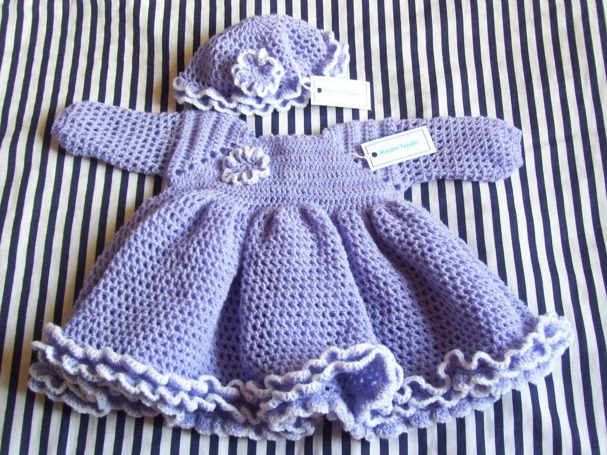 Tejidos Artesanales A Crochet: Vestido Para Beba Con Gorro! - $ 750 ...