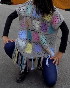 ffb9ddaf1 Tejidos Crochet Chaleco Poncho Con Flecos Lanas
