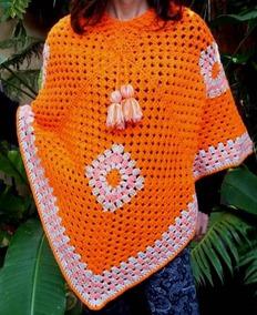 22bc069d0 Capas Tejidas En Crochet - Ponchos de Mujer Naranja en Mercado Libre ...