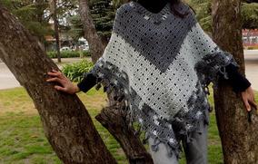 c90b60cab Tejidos Crochet Poncho Lana Combinado Grises