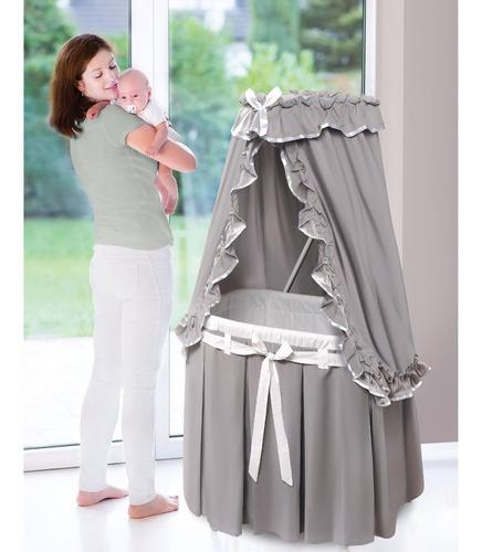 tejón cesta majestad bebé moisés con dosel grises y