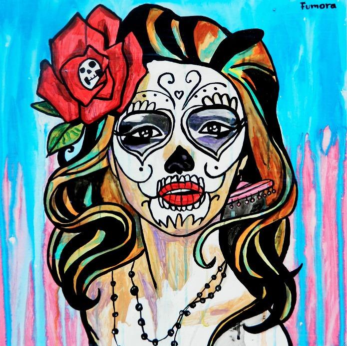 Tela Canvas Catrina Con Rosa X Pintor Alberto Fumora Arte Un
