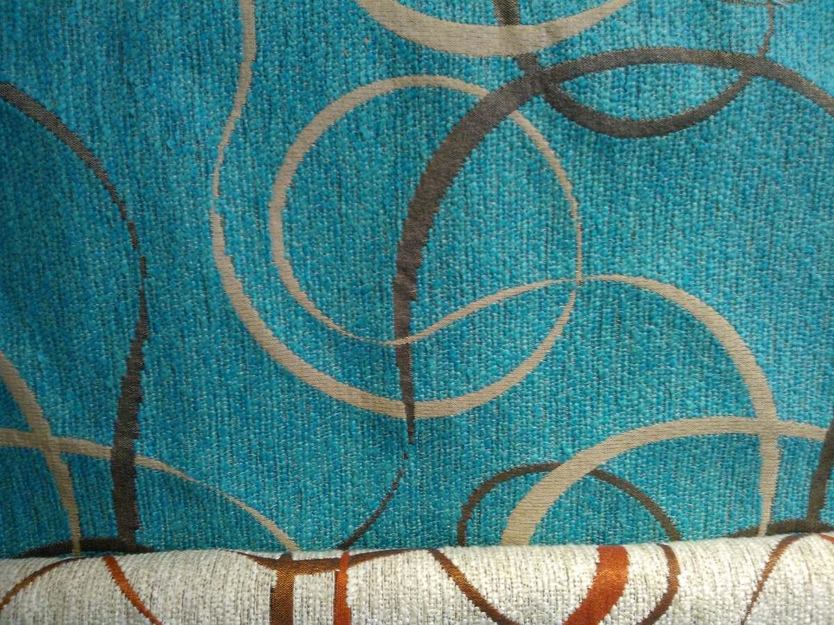 Tela Chenille Turquesa Labrada Para Tapicería, Funda,cortina