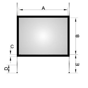 tela de projeção dobrável 200  frontal - armação e case
