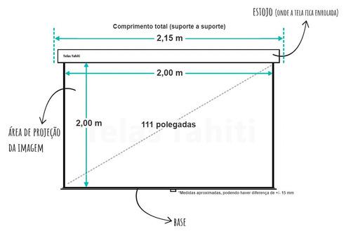 tela de projeção retrátil 2,00 x 2,00 m. direto da fábrica